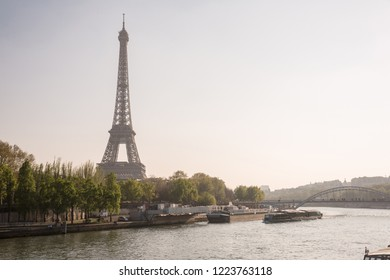 Parisian landscape with Eiffel Tower and Seine River