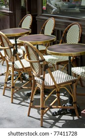 Parisian restaurant terrace during a sunny day in spring