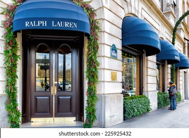PARIS-JAN 5, 2014:Ralph Lauren's first store in Paris opened 1986 in the posh shopping district near the Place de la Madeleine, shown decorated for the holidays.There are now two more stores in Paris.