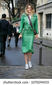 PARIS-JANUARY 22, 2018. Street style meanwhile Paris fashion week. Haute Couture.
