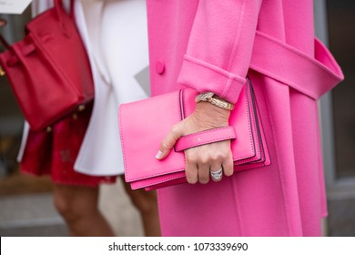 PARIS-JANUARY 24, 2018.Street Style meanwhile Paris fashion week. Haute couture.