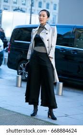 PARIS-JANUARY 25, 2016. Street style during Paris fashion week, Haute Couture.