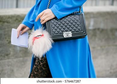 PARIS-JANUARY 27, 2015. Street fashion bag. Men's wear and Haute couture. Paris fashion week.