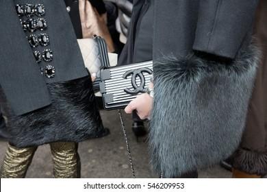 PARIS-JANUARY 28, 2015. Details of fashion bag during Paris fashion week. Haute Couture.