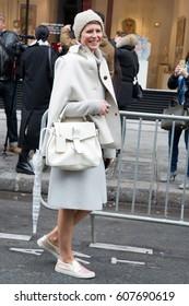 PARIS-JANUARY 28, 2015. Italian Stylist Elisa Nalin is going to a fashion show. Paris fashion week. Ready to wear.