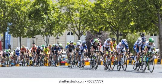 PARIS-JUL 24: The feminine peloton riding on Champs Elysees in Paris during the second edition of La Course by Le Tour de France 2016.