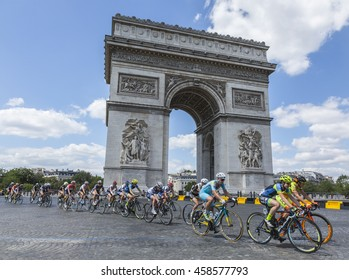 PARIS-JUL 24: The feminine peloton riding by the Arch de Triomphe on Champs Elysees in Paris during the second edition of La Course by Le Tour de France 2016.