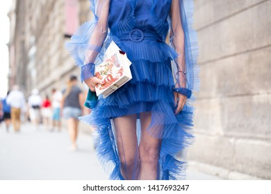 PARIS-JULY 4,2018.Elina Halimi is going to a fashion show.Street style meanwhile Paris fashion week. Haute couture.