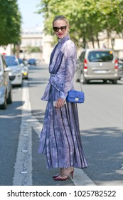 PARIS-JULY 6, 2015. Street style meanwhile Paris fashion week. Haute Couture.