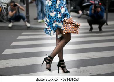 PARIS-JULY 6, 2016. Paris fashion week, Haute couture. Street stylish shoes.
