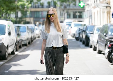 PARIS-JULY 6, 2016. Street style meanwhile Paris fashion week. Haute couture.