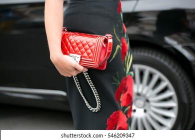 PARIS-JULY 8, 2015. Details of fashion bag during Paris fashion week. Haute Couture.