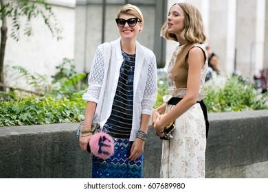 PARIS-JULY 8, 2015. Italian Stylist Elisa Nalin is going to a fashion show. Paris fashion week. Ready to wear.