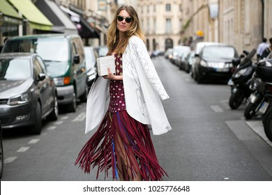 PARIS-JULY 8, 2015. Street style meanwhile Paris fashion week. Haute Couture.