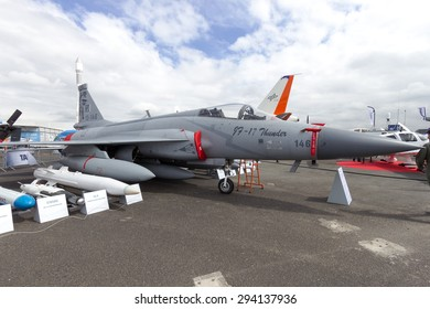 PARIS-LE BOURGET - JUN 18, 2015: Pakistan-made JF-17 Thunder fighter jet at the 51st International Paris Air show. Attending the show resulted in a first-ever order for the JF-17 Thunder jet fighter.