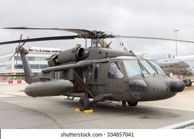 PARIS-LE BOURGET - JUN 18, 2015: American Army Sikorsky UH-60 Black Hawk helicopter at the 51st International Paris Air show