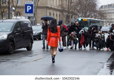 PARIS-MARCH 1, 2017. Street style meanwhile Paris fashion week. Ready to wear.