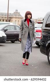 PARIS-MARCH 2, 2017.Street style during Paris fashion week.Ready to wear.