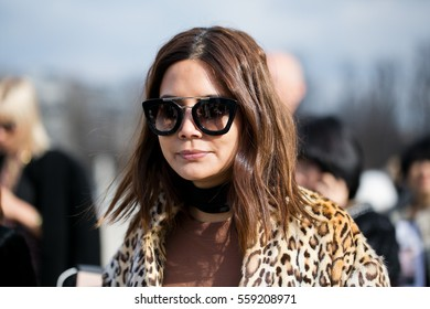 PARIS-MARCH 3, 2016. Christine Centenera, Vogue Australia fashion editor, is going to a fashion show during Paris Fashion week. Ready to wear.