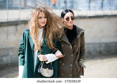 PARIS-MARCH 3, 2016. Famous Swiss Blogger, Kristina Bazan is posing for photographers. Paris fashion week. Ready to wear.