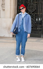 PARIS-MARCH 4, 2015. Italian Stylist Elisa Nalin is going to a fashion show. Paris fashion week. Ready to wear.