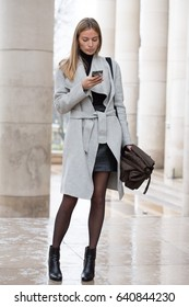 PARIS-MARCH 4, 2017.Street style during Paris fashion week.Ready to wear.
