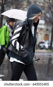 PARIS-MARCH 4, 2017.Street style during Paris fashion week.Ready to wear.