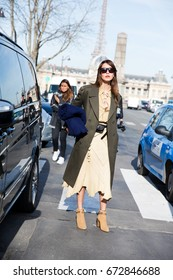 PARIS-MARCH 6, 2015. Ece Sukan is going to a fashion show. Paris fashion week, street style.