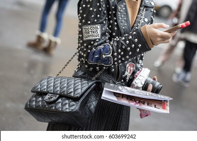 PARIS-MARCH 6, 2017. Street fashion bag during Paris fashion week. RTW FW17-18.