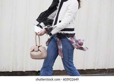 PARIS-MARCH 6, 2017. Street fashion bag during Paris fashion week. RTW FW17-18.