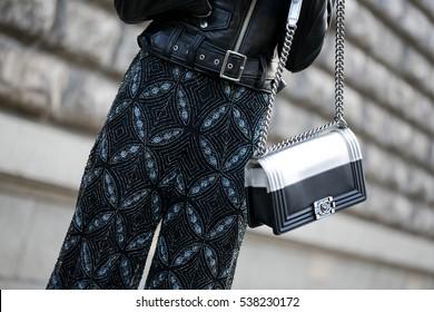 PARIS-MARCH 7, 2016. Street fashion bag. Ready to wear. Paris fashion week.
