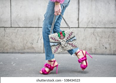 PARIS-MARCH 7, 2016. Street fashion shoes. Ready to wear.Paris fashion week.