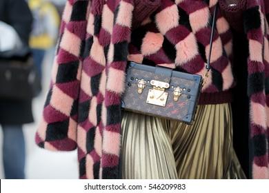PARIS-MARCH 8, 2016. Details of fashion bag during Paris fashion week. Ready to wear.