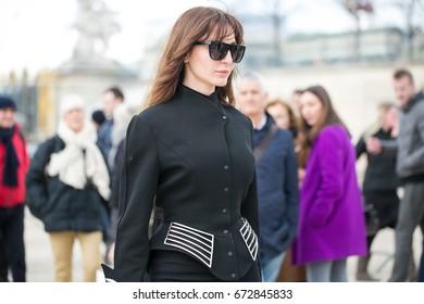 PARIS-MARCH 8, 2016. Ece Sukan is going to a fashion show. Paris fashion week, street style.