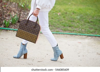 PARIS-MARCH 9, 2015. Details of fashion bag during Paris fashion week. Ready to wear.