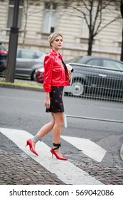 PARIS-MARCH 9, 2016. Brazilian blogger and founder, Lala Rudge is going to a fashion show.Paris fashion week, Ready to wear.