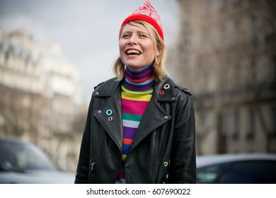 PARIS-MARCH 9, 2016. Italian Stylist Elisa Nalin is going to Miu Miu fashion show. Paris fashion week. Ready to wear.