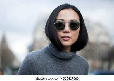 PARIS-MARCH 9, 2016. Yoyo CAO is going to a fashion show.Paris fashion week. Ready to wear.