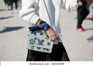 PARIS-OCTOBER 1, 2015. Street style during fashion week in Paris. Haute couture. Bags focus.