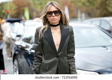 PARIS-October 1, 2016. Erica Pelosini is posing for photographers during Paris fashion week.