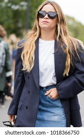 PARIS-OCTOBER 1, 2017. Street style at Balenciaga fashion show meanwhile Ready to wear in Paris.