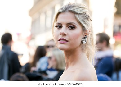 PARIS-OCTOBER 2, 2015. Brazilian blogger and founder, Lala Rudge is going to a fashion show.Paris fashion week, Ready to wear.