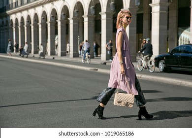 PARIS-OCTOBER 2, 2015. Samantha Angelo is going to a fashion show meanwhile Paris fashion week, Ready to wear.