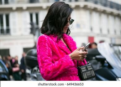 PARIS-OCTOBER 2, 2016. Street fashion style during Paris Fashion Week. Readu to wear.