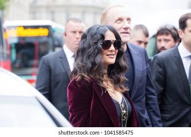 PARIS-OCTOBER 2, 2017. Salma Hayek at Stella Mac Cartney fashion show meanwhile Paris fashion week. Ready to wear.