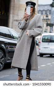 PARIS-OCTOBER 2, 2017. Street style at Stella Mac Cartney fashion show meanwhile Paris fashion week. Ready to wear.