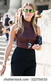 PARIS-OCTOBER 3, 2015. Brazilian style blogger, Helena Bordon is going to a fashion show. Ready to wear. Paris fashion week.