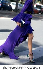 PARIS-October 3, 2016. Erica Pelosini is posing for photographers during Paris fashion week.