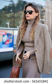 "PARIS-OCTOBER 3, 2016. Miroslava ""Mira"" Duma is on her way to a fashion show. Paris fashion week. Ready to wear."
