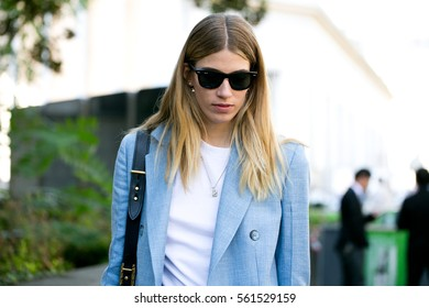 PARIS-OCTOBER 3, 2016. Style editor Veronika Heilbrunner is going to a fashion show.Paris fashion week. Ready to wear.